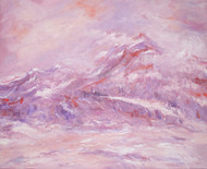 Himalaya by Animesh Roy, Impressionism Painting, Oil on Linen, Pink color