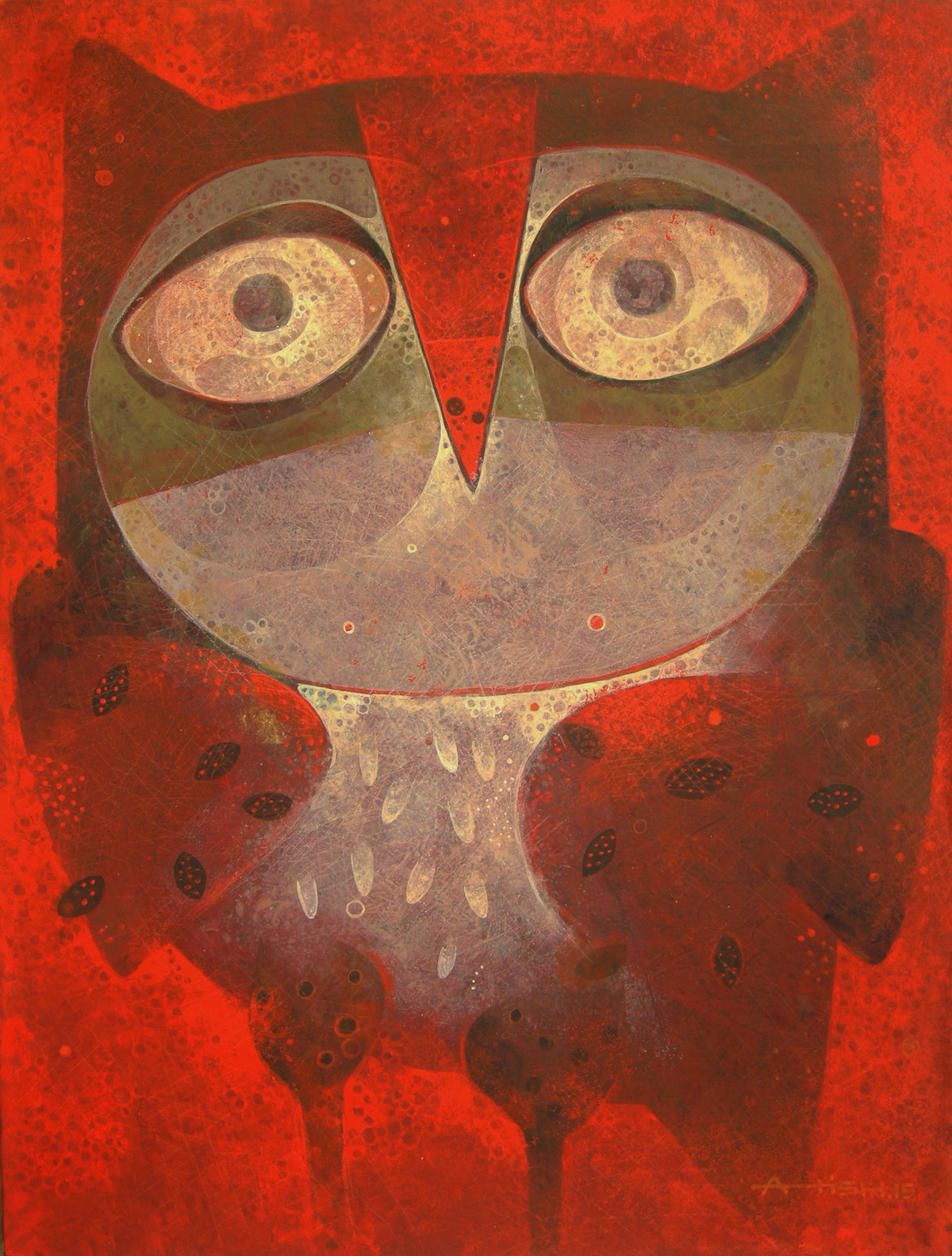 Owl 02 by Atish Mukherjee, Expressionism Painting, Tempera on Board, Brown color