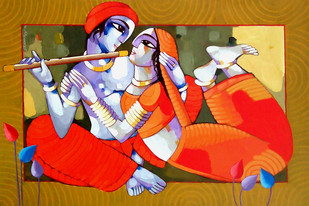 Romantic Couple 11 - Painting by Sekhar Roy