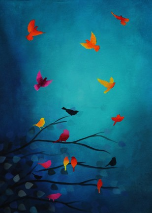 Whispering Winds by Priyanka Waghela, , , Blue color