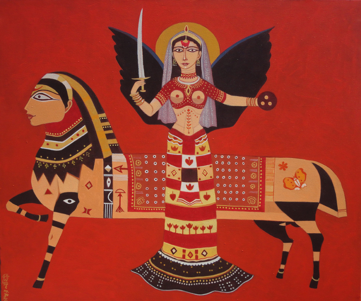 Queen by Bhaskar Lahiri, Folk Painting, Acrylic on Canvas, Red color