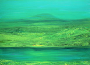 Meditation of a Mountain by Sujata Kar Saha, Impressionism Painting, Oil on Canvas, Green color