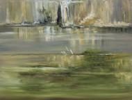 Rocky Silence by Sujata Kar Saha, Impressionism Painting, Oil on Canvas, Green color