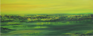Green Effect by Sujata Kar Saha, Impressionism Painting, Oil on Canvas, Green color
