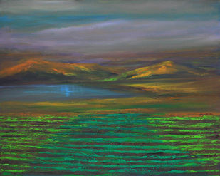 Layers lining Up by Sujata Kar Saha, Impressionism Painting, Oil on Canvas, Green color