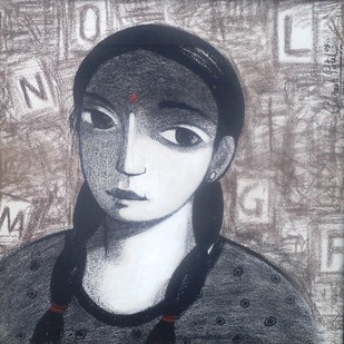 Untitled by Ganesh Patil, Drawing, Charcoal on Canvas, Gray color