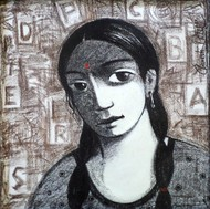 Untitled by Ganesh Patil, Decorative Drawing, Charcoal on Canvas, Gray color
