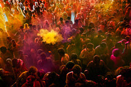 Holi in Jaipur by Asis Kumar Sanyal, Photography, Digital Print on Paper, Brown color