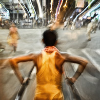 Rickshaw Puller by Subhajit Dutta, Photography, Digital Print on Paper, Brown color