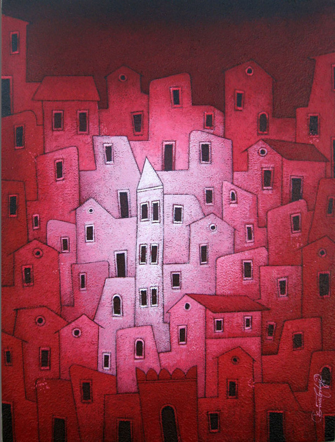Red Village - 481 by Suresh Gulage, Art Deco Painting, Acrylic on Canvas, Brown color
