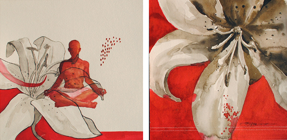 Meditation 37 by Raju Sarkar, Conceptual Painting, Watercolor on Paper, Beige color