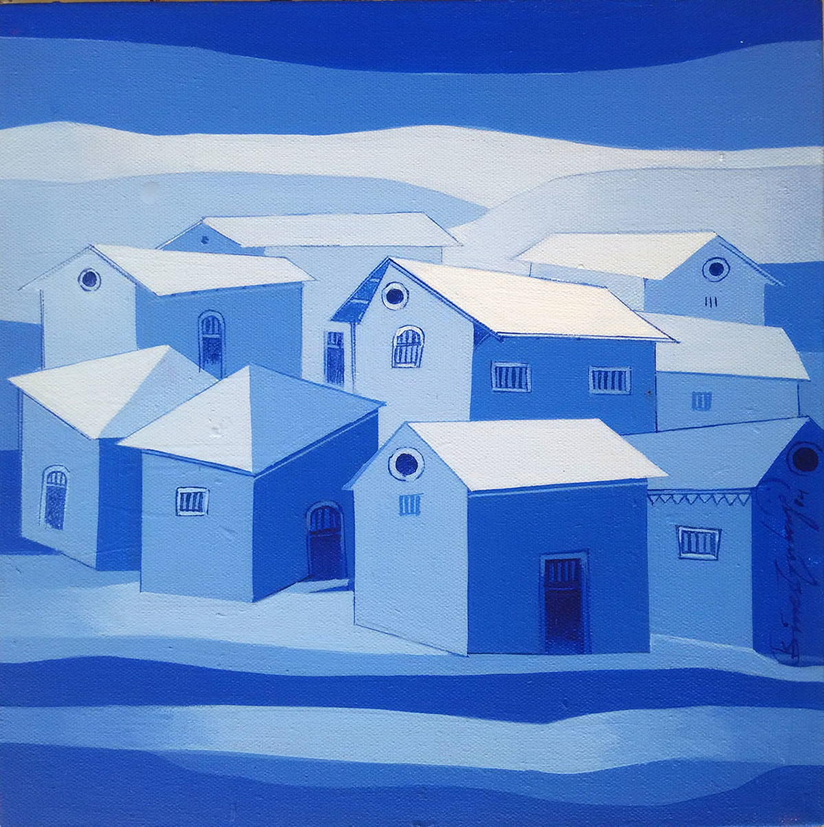Village - 735 by Suresh Gulage, Decorative Painting, Acrylic on Canvas, Blue color