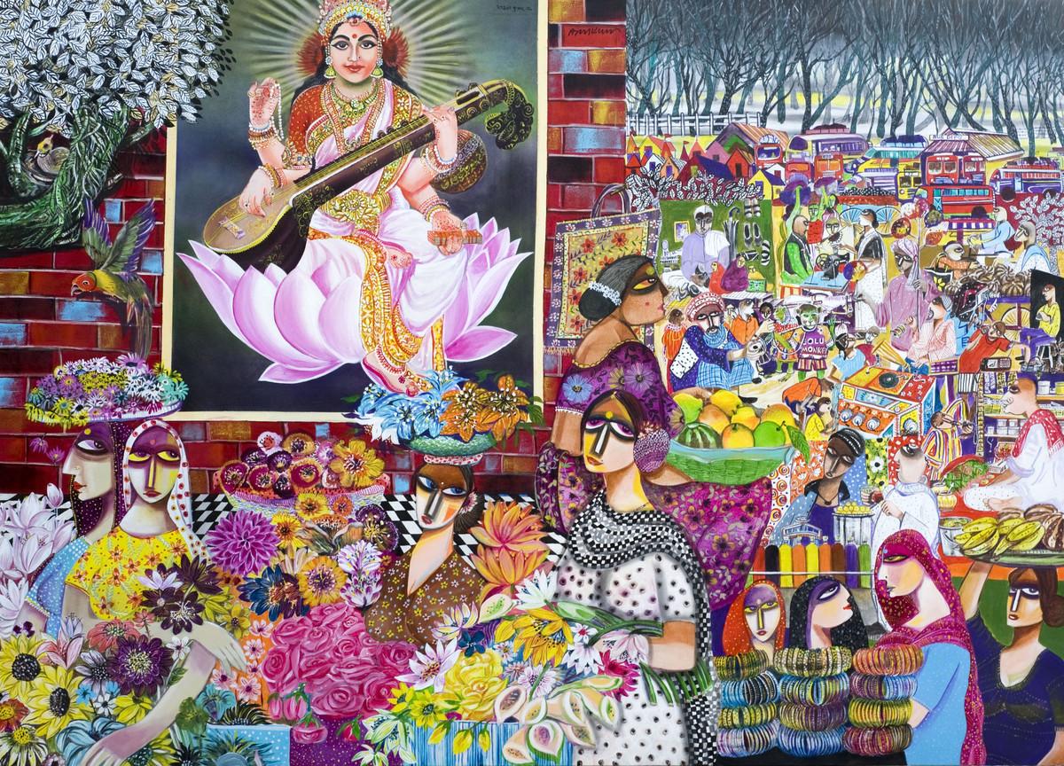 Village Market Digital Print by Arun K Mishra,Decorative