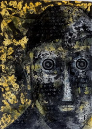 Face - 1 by Jayavanth Shettigar, Expressionism Painting, Mixed Media on Paper, Gray color