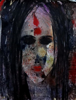 Face - 2 by Jayavanth Shettigar, Expressionism Painting, Mixed Media on Paper, Black color