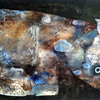 Cat - 4 by Jayavanth Shettigar, Expressionism Painting, Mixed Media on Paper, Gray color