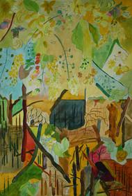 Meditation-5 by Vijay Kiyawat, Conceptual, Fantasy Painting, Watercolor on Paper, Green color