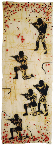 """""""No More"""" by Govind Vishwas, Conceptual Painting, Mixed Media on Board, Beige color"""