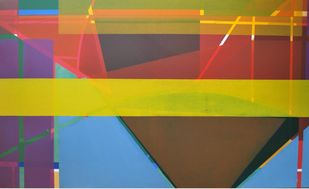 Azaan by Rafique Shah, Geometrical Painting, Oil on Canvas, Brown color