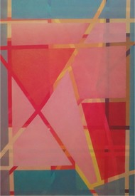Untitled by Rafique Shah, Geometrical Painting, Oil on Canvas, Pink color
