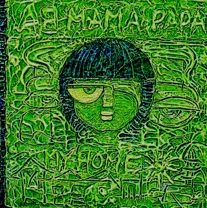 Destiny's Child by Yolanda Sousa Kammermeier, Expressionism Painting, Acrylic on Canvas, Green color