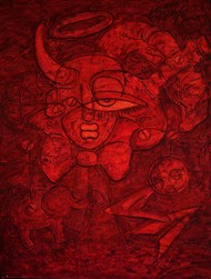 Hidden Truth-II by Yolanda Sousa Kammermeier, Expressionism Painting, Acrylic on Canvas, Red color