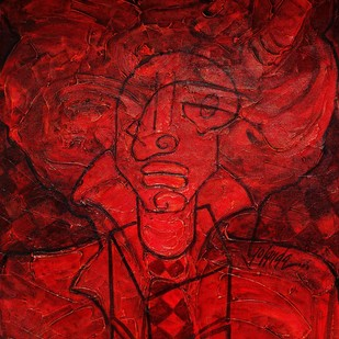 Jack in the Box by Yolanda Sousa Kammermeier, Expressionism Painting, Acrylic on Canvas, Red color