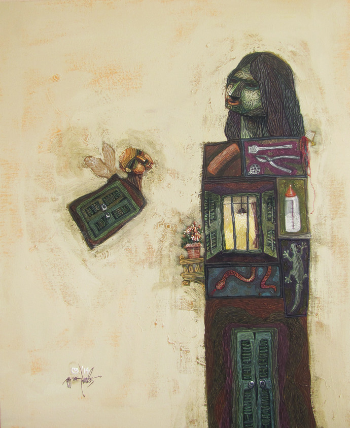 Bee Mine by Tamojit Bhattacharya, Conceptual Painting, Acrylic on Canvas, Beige color