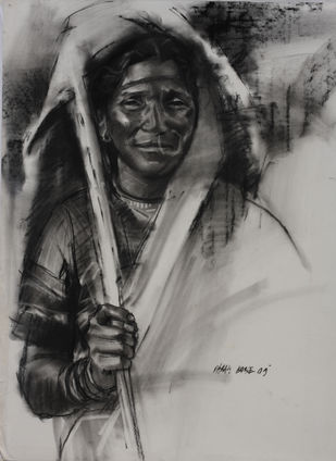 Vibrancy Nineteen by Parag Borse, Drawing, Charcoal on Paper, Gray color