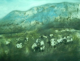 Baa Baa White Sheeps by Debajyoti Das, Impressionism Painting, Acrylic on Paper, Green color