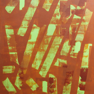 Trance by Srinivasan Natarajan, Abstract Painting, Acrylic on Canvas, Brown color