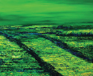 Roaring Green in a Lonely Field by Sujata Kar Saha, Impressionism Painting, Oil on Canvas, Green color