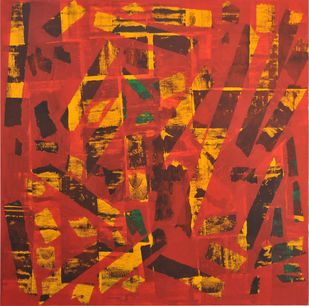 BlackoutEvening by Srinivasan Natarajan, Abstract Painting, Acrylic on Canvas, Brown color