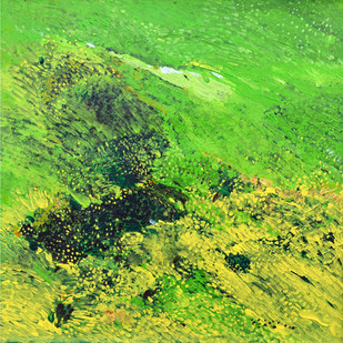 Swapna Dharaa 7 by Durgesh Birthare, Abstract Painting, Acrylic on Canvas, Green color