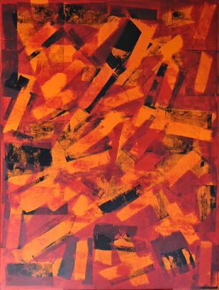 Paramnesia by Srinivasan Natarajan, Abstract Painting, Acrylic on Canvas, Red color