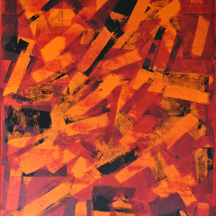 Paramnesia by Srinivasan Natarajan, Abstract Painting, Acrylic on Canvas, Red color