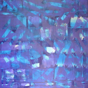 Subconsciousness by Srinivasan Natarajan, Abstract Painting, Acrylic on Canvas, Blue color