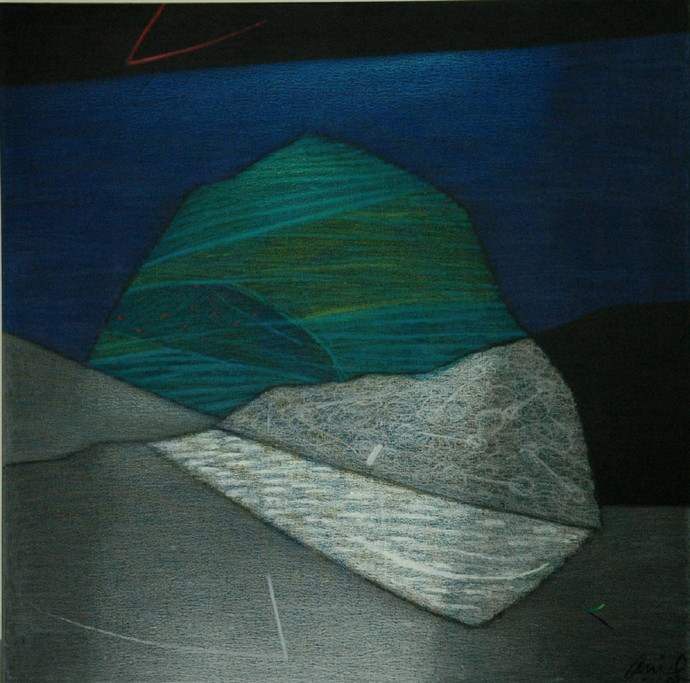 Terra Incognita 31 by Anil Gaikwad, Abstract Painting, Oil Pastel on Canvas, Green color