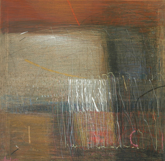 Shadow Becomes Reality 7 by Anil Gaikwad, Abstract Painting, Oil Pastel on Canvas, Brown color
