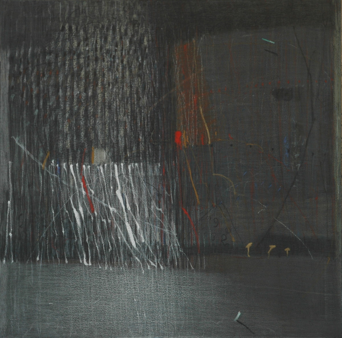 Shadow Becomes Reality 6 by Anil Gaikwad, Abstract Painting, Oil Pastel on Canvas, Gray color