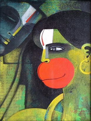 Rama & Hanuman by Appam Raghav, Painting, Acrylic on Canvas, Green color