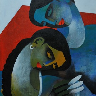 Young Couple by Appam Raghav, Painting, Acrylic on Canvas, Green color