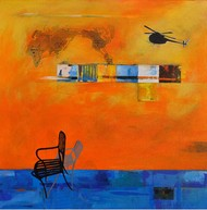 Thinking II by Isha Bawiskar, Conceptual Painting, Acrylic on Canvas, Orange color