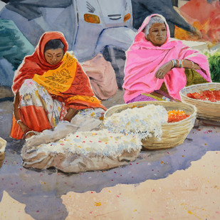 The Flower Sellers by Ramesh Jhawar, Impressionism Painting, Watercolor on Paper, Brown color