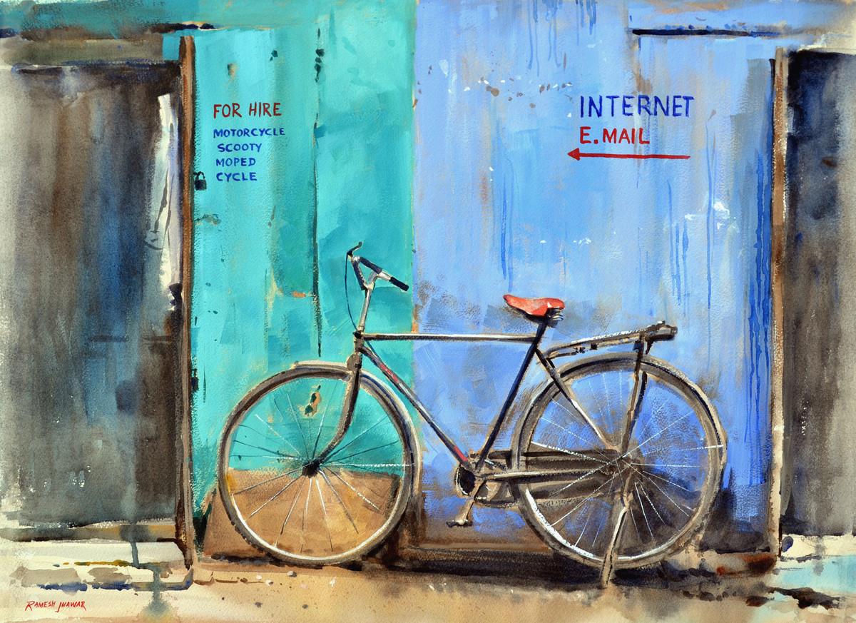 Bicycle for Hire Digital Print by Ramesh Jhawar,Impressionism
