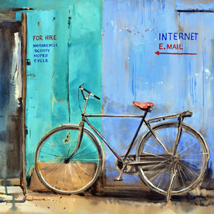 Bicycle for Hire by Ramesh Jhawar, Impressionism Painting, Watercolor on Paper, Cyan color