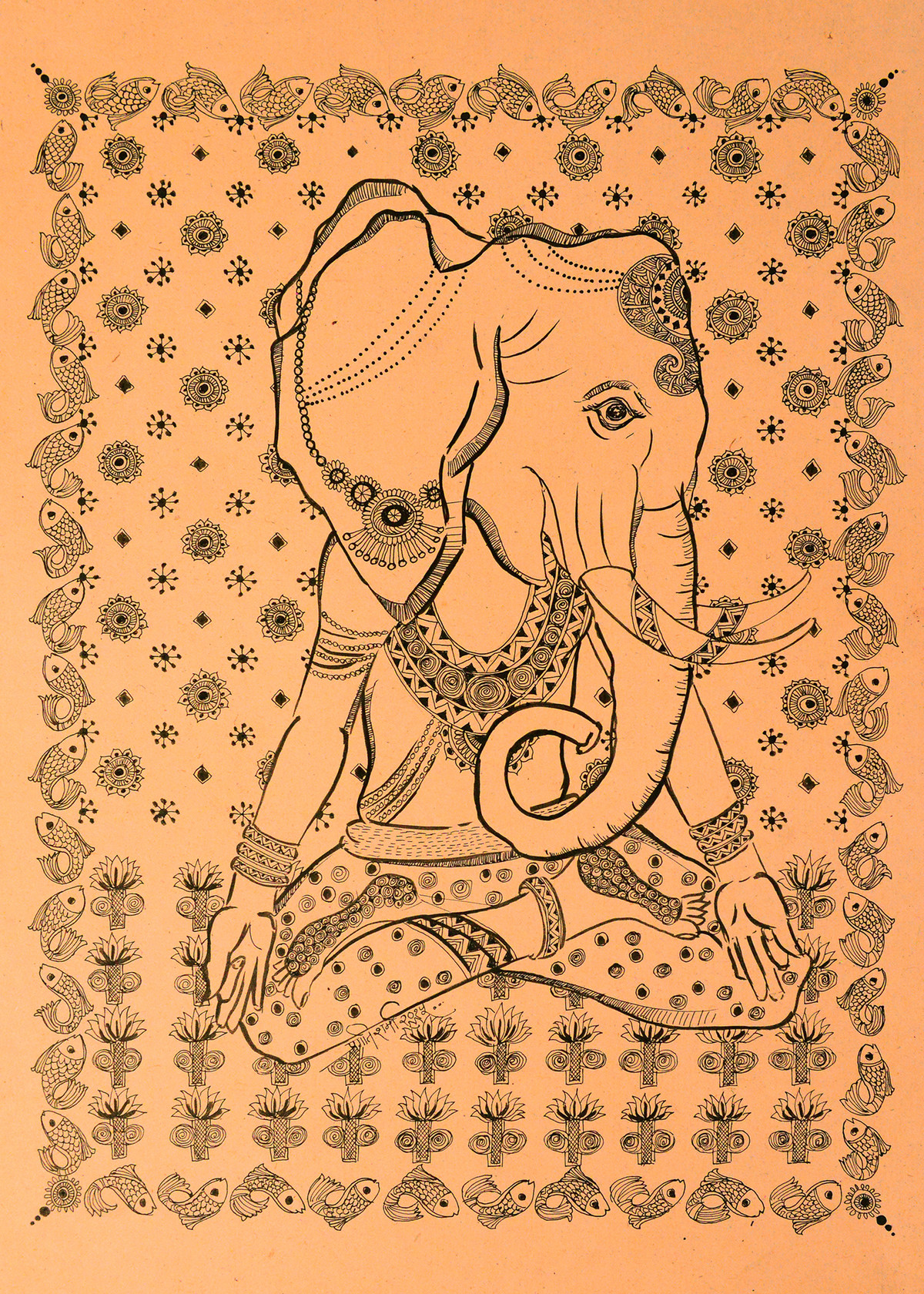 Gaj-Yogi by Pragati Sharma Mohanty, Traditional Drawing, Ink on Paper, Brown color