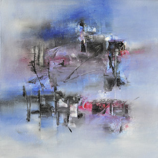 After Evening by Raju Durshettiwar, Abstract Painting, Acrylic on Canvas, Cyan color