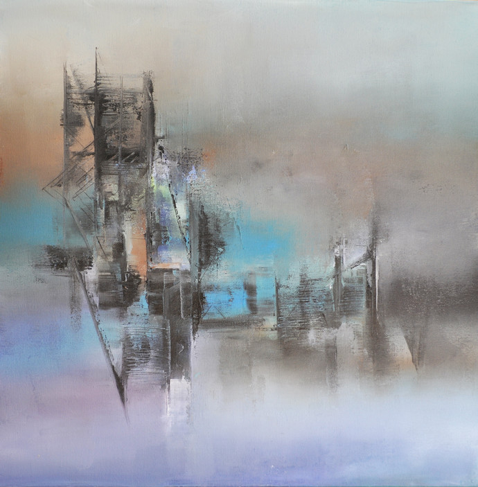 Blue Mist By Artist Raju Durshettiwar Abstract Painting
