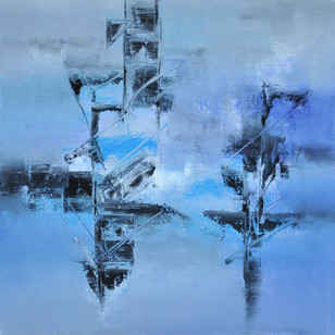 Cosmic Blue by Raju Durshettiwar, Abstract Painting, Acrylic & Ink on Canvas, Cyan color